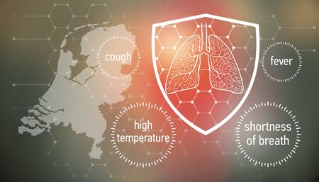 All the forces against dangerous symptoms. Design banner for coronavirus news with empty copy space and defense shield 版權商用圖片 - 143137018