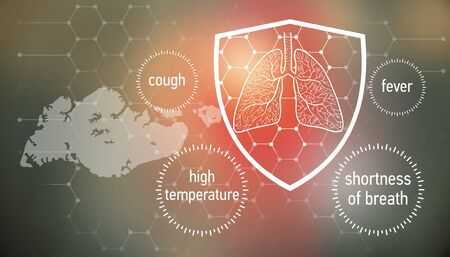 All the forces against dangerous symptoms. Design banner for coronavirus news with empty copy space and defense shield 版權商用圖片 - 143137021
