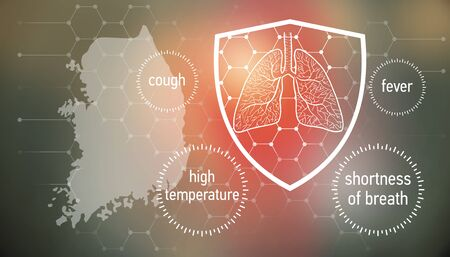 All the forces against dangerous symptoms. Design banner for coronavirus news with empty copy space and defence shield 版權商用圖片 - 143137020