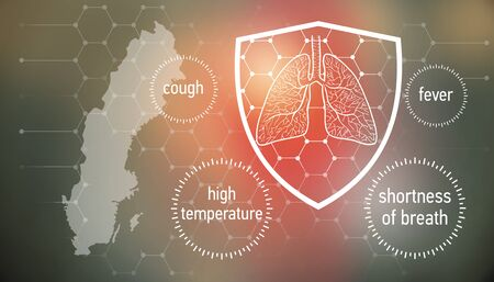 All the forces against dangerous symptoms. Design banner for coronavirus news with empty copy space and defense shield 版權商用圖片 - 143137023