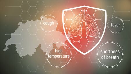 All the forces against dangerous symptoms. Design banner for coronavirus news with empty copy space and defense shield 版權商用圖片 - 143137022