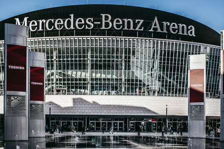 Berlin / Germany - 14 May 2019: The Mercedes-Benz Arena in Berlin is a multipurpose stadium. It holds important sport and entertainment events.