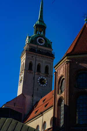 Peterskirche ( St. Peter`s Church) tower with observation deck on top, Munich, Germany 版權商用圖片