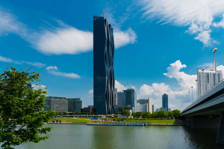 01 June 2019 Vienna, Austria - Donaucity (DC) Tower,  Regus -Vienna. The Vienna International Center is a Complex with skyscrapers, large business hub next to the Danube River.