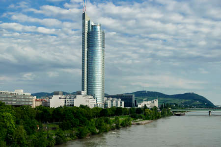 01 June 2019 Vienna, Austria - Millennium Tower on Danube river, modern business centre in Vienna.