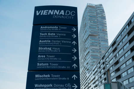 01 June 2019 Vienna, Austria - Donaucity, Travel destinations signposts in Vienna International Center.