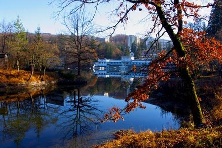 Hotel on the Bear lake in Transylvania Stock Photo - 10737154