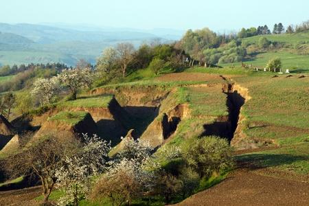landslip: Gorges in the earth due to landslides.