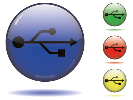 Black USB symbol on a sphere in different colors. Vector