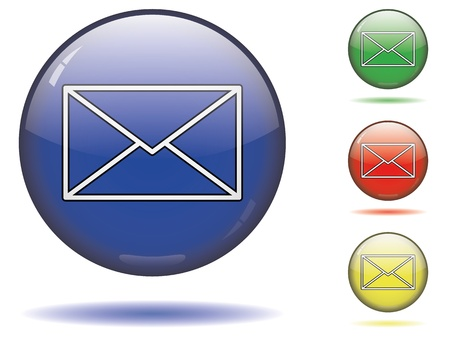 Mail button symbol on a sphere in different colors. Vector