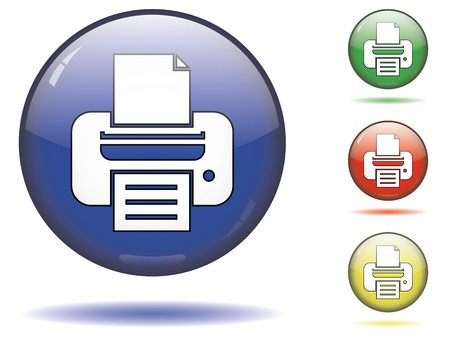 color printer: Glossy printer button symbol on a sphere in different colors on isolated white background.