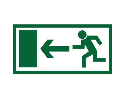 evacuation: Greem emergency exit sign isolated on white background. Illustration