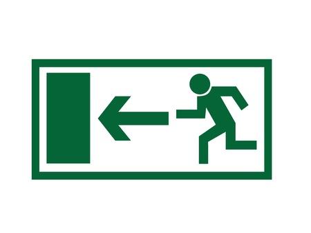 evacuatie: Greem nooduitgang teken geïsoleerd op een witte achtergrond.