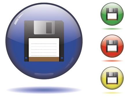 Glossy save button set Vector