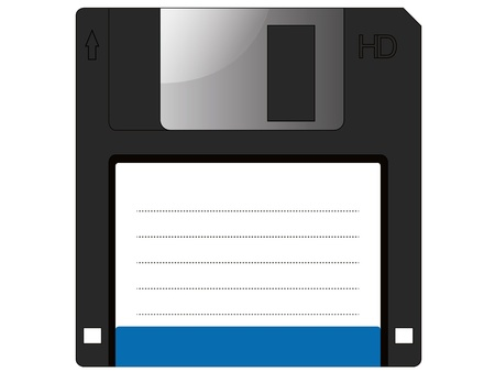 Floppy disc vector on isolated white background. Vector