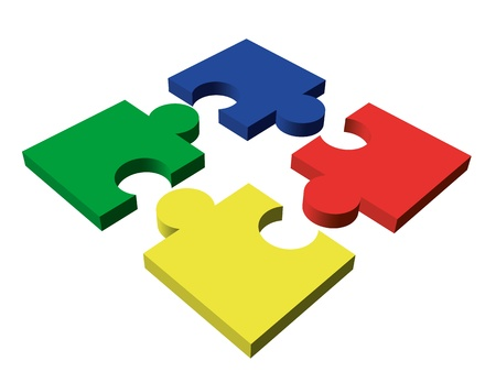 A four-piece color vector puzzle on white background Vector