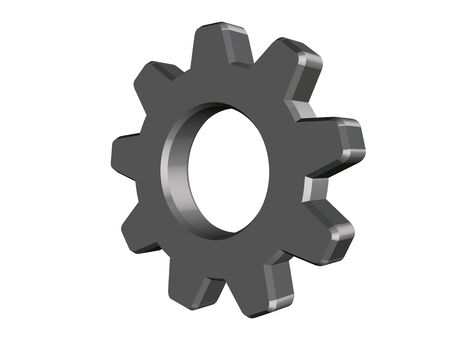 3D grey cogwheel vector on white background. Vector