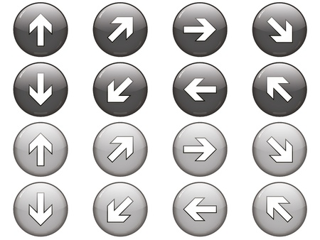 Set of 8 gray arrow buttons with rollovers Stock Vector - 11300180
