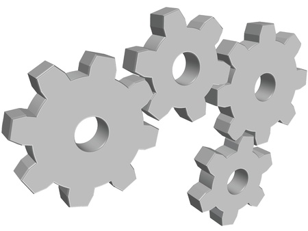 Four 3D glossy gray vector cogwheels on white background