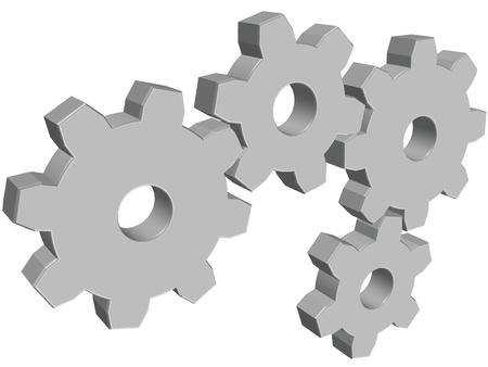 Four 3D glossy gray vector cogwheels on white background Imagens - 11300184