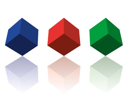 Three RGB color 3d cubes with reflections