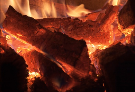 Burning logs of firewood before falling into smithereens. photo