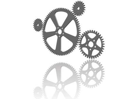Four 3D gray cogwheels with reflection on white background