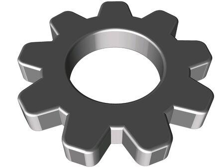 3D rounded steel cogwheel on white background