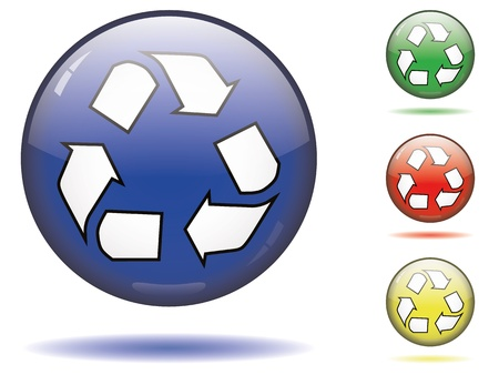 Glass sphere recycling button set in 3 colors Stock Vector - 11667343