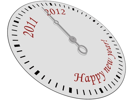 Clock with Happy New Year written on it. Vector