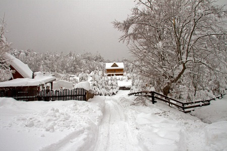 Snowy landscape with some wooden houses in Transylvania