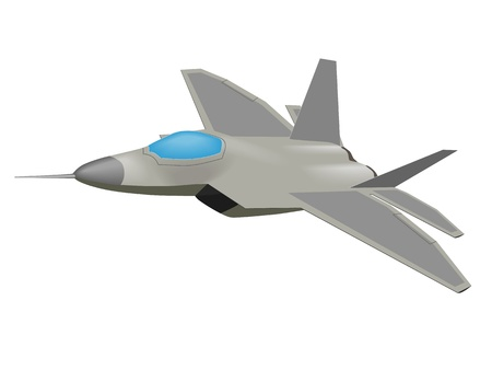 jet fighter: Vector graphic of an F-22 Raptor aircraft Illustration