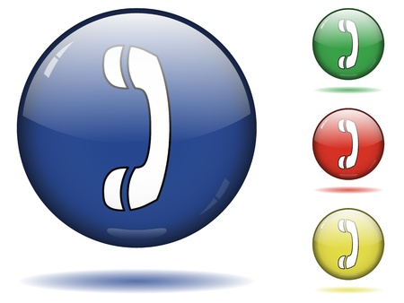 Glossy sphere icon set of call.
