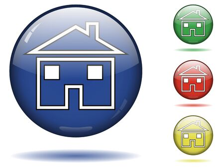 Glossy sphere icon set of home. Stock Vector - 13169750