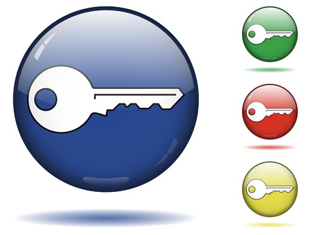 Glossy sphere icon set of key. Stock Vector - 13169767