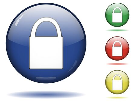 closed society: Glossy sphere icon set of lock.