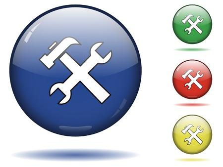 tornavida: Glossy sphere icon set of tools.