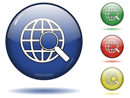 Glossy sphere icon set of web search Illustration