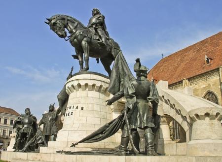 The statue of Matthias Corvinus in Cluj-Napoca, Transylvania, Romania 免版税图像 - 13445770
