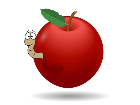 Vector graphic red apple with a worm Vector