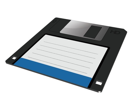 dimensions: graphic of a traditional floppy disk in three dimensions Illustration