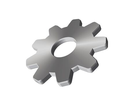 3D graphic of a steel cogwheel. Illustration