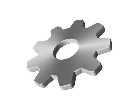 3D graphic of a steel cogwheel. Illustration