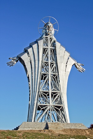 Huge steel statue and viewing tower in Lupeni, Szeklerland, Transylvania