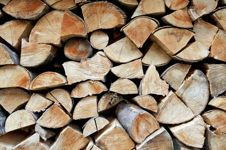 Closeup shot of a stack of firewood