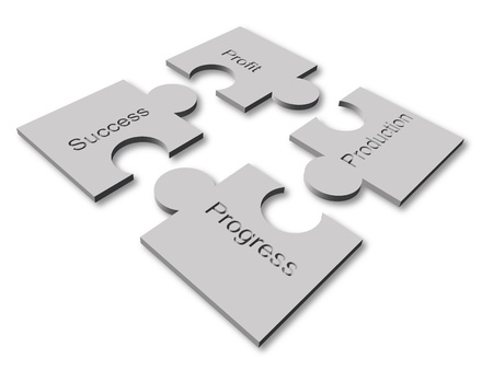Puzzle concept graphic of some components of business