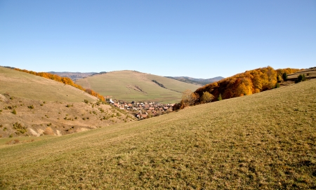 View of a village among hills in autumn  Stock Photo - 17181940