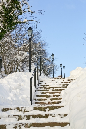 A snowy outdoor stairway with street lamps