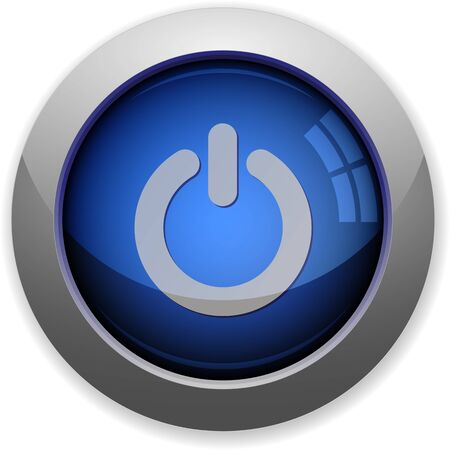 power off: Blue glossy web button power off