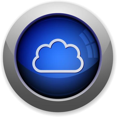 Blue glossy cloud web button Illustration